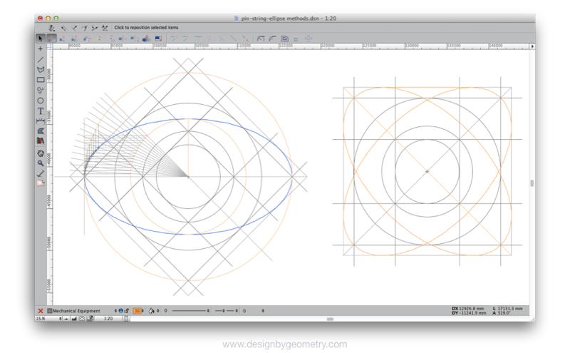 Describing an ellipse, the major and minor axes being given.