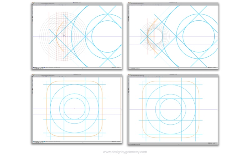 Icon Mask Curve Using Methods for Creating a Parabola (left) and a Hyperbola (right).