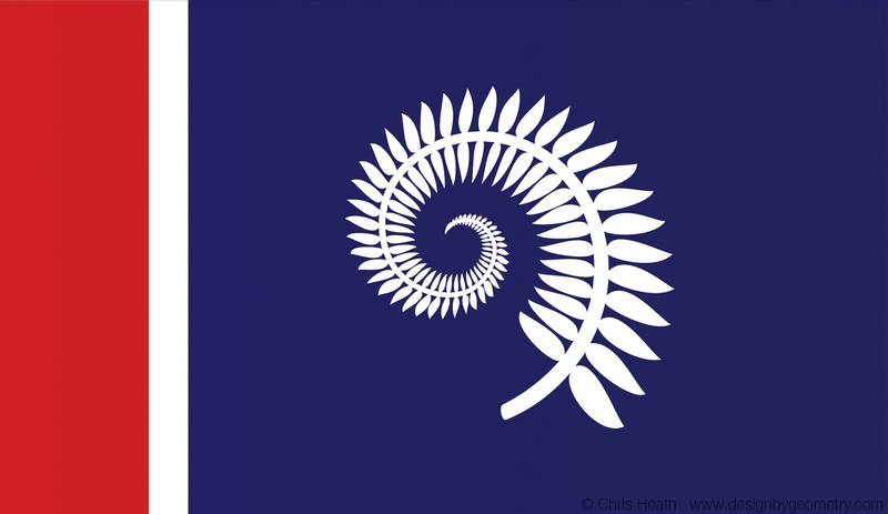 Silver Fern with Red Vertical Band