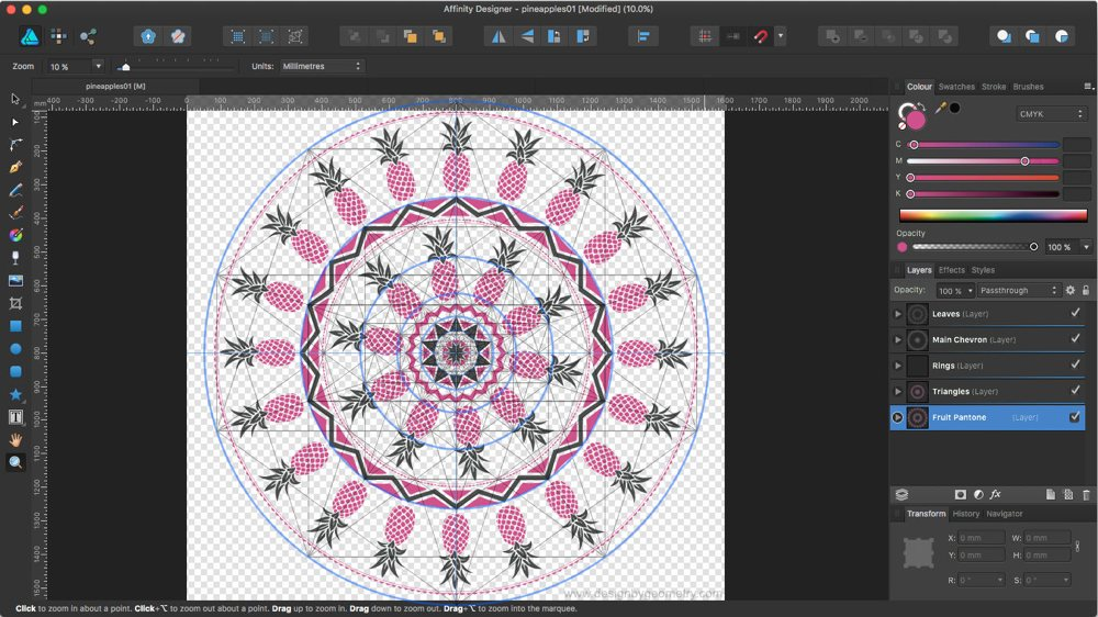 Round Towel Design with Golden Ratio Overlay