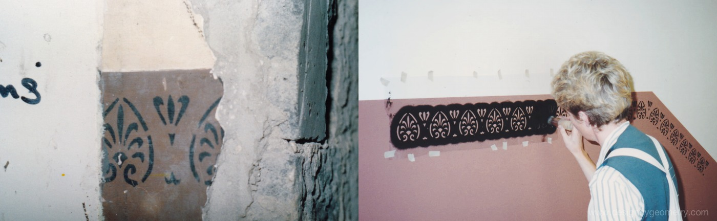 Original Palmette Stencil (left), Stencil Applied by Juliet Bamford (1988)