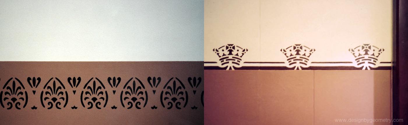 Corridor & Stairwell Dado Stencils (left), Entrance Dado Stencil (right)
