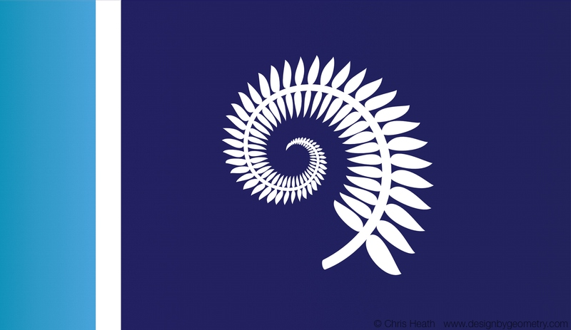 Silver Fern with Blue Vertical Band