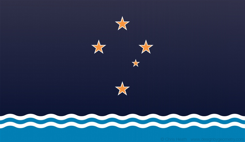 Gold Southern Cross over Teal Ocean