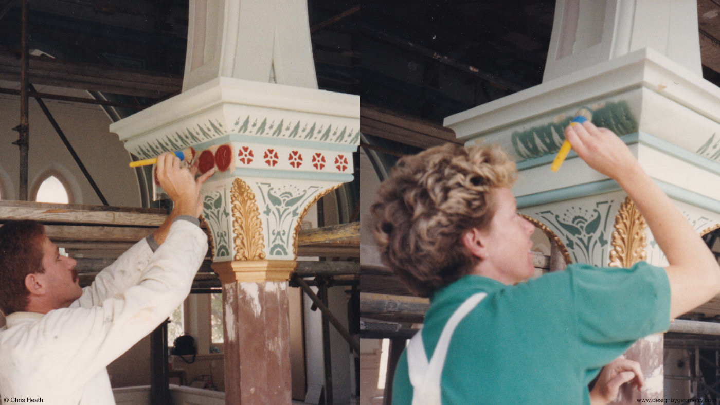Stencilling the Column Capitals